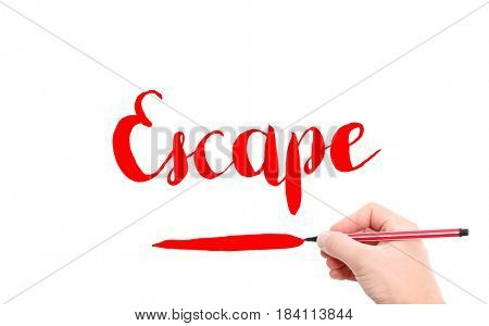 The word of Escape written by hand on a white background