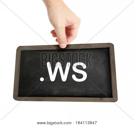 The .ws domain name on a keyboard key