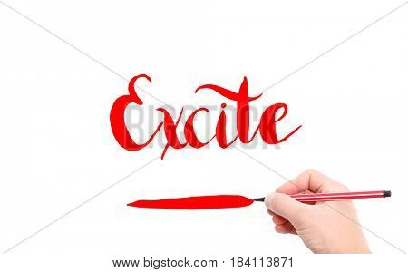 The word of Excite written by hand on a white background