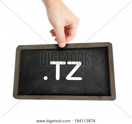 The .tz domain name on a keyboard key