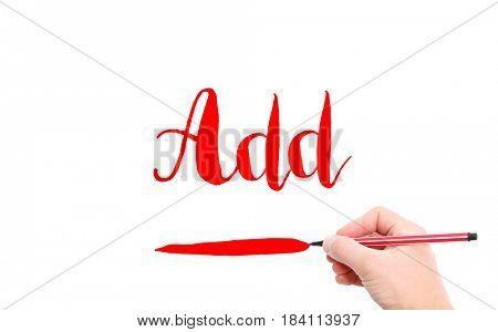 The word of Add written by hand on a white background