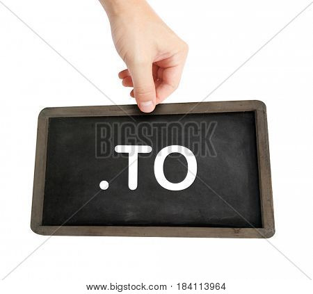 The .to domain name on a keyboard key