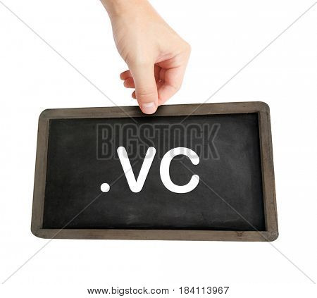The .vc domain name on a keyboard key