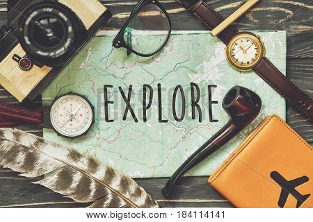 Explore Text Sign Concept On Map. Wanderlust And Travel Concept, Hipster Flat Lay. Passport Compass