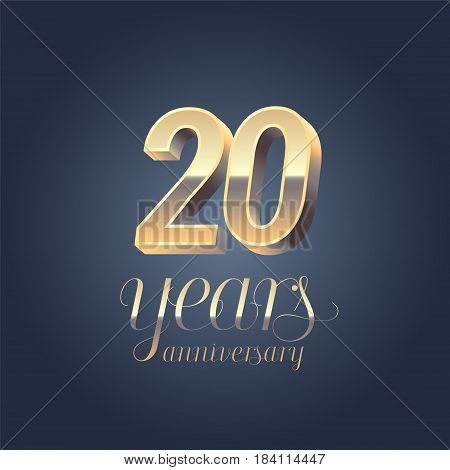 20th anniversary vector icon logo. Gold color graphic design element for 20 years anniversary birthday banner