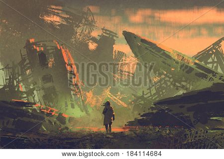 scene of the man walking out from ruined planes at sunset with digital art style, illustration painting