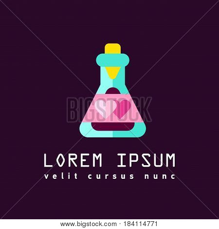 Flat line sign of love potion or flask with magic elixir. Male and female signs. Aphrodisiac. Logo of love or romance relationships. Happy Valentine s day