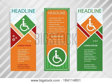 Disabled Handicap Icon  On Vertical Banner. Modern Banner, Brochure Design Template.
