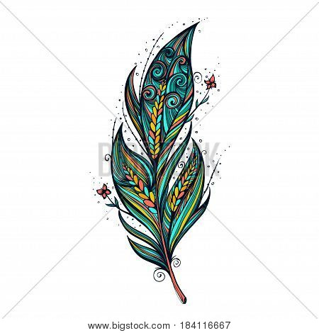 Isolate feather icon colorful vector illustration, tribal handdrawn.