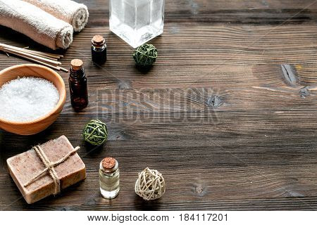 Aromatherapy SPA set with salt and natural oil on wooden background mock up
