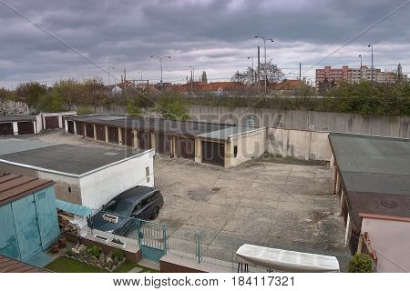Chomutov Ustecky kraj Czech republic - April 15 2017: Ford Mondeo stand between garages at route 13 during sping afternoon