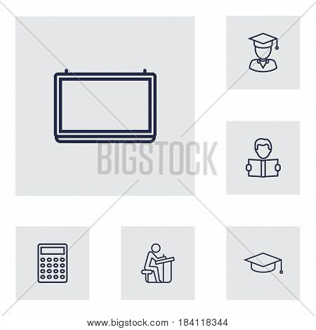 Set Of 6 Education Outline Icons Set.Collection Of Graduated, Calculator, Pupil And Other Elements.