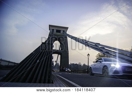 Car passing by on Clifton Suspension Bridge