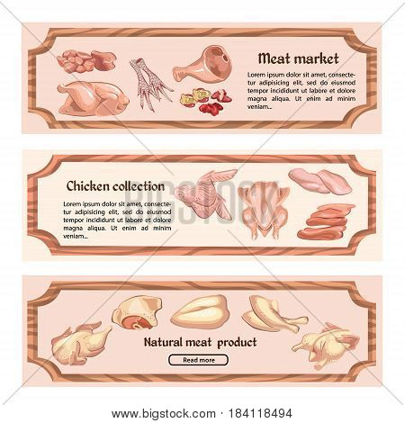 Colored chicken meat horizontal banners with text and fillet legs brisket liver wings feet gizzard parts vector illustration