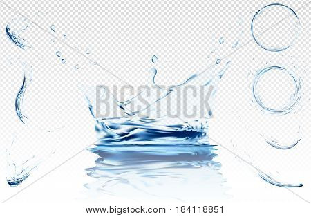 Water splashes collection. Blue transparent water vector splash crown with ripple reflection. spray with drops isolated. 3d illustration vector. aqua surface background created with gradient mesh