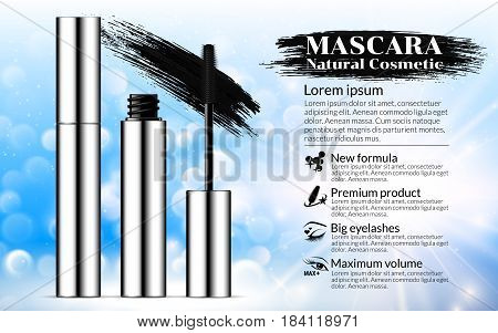 Luxury mascara brush silver package with eyelash applicator Cosmetics Advertising Banner Billboard Poster Catalog. Package Design Promotion Product blue background. 3D Vector Illustration.