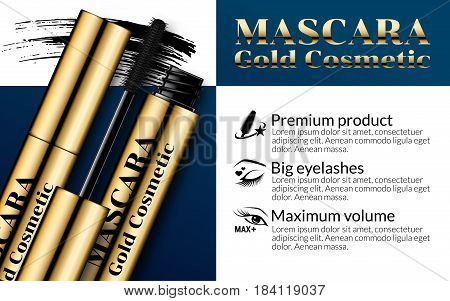 Luxury mascara ads gold package with eyelash applicator brush mascaras VIP background. Cosmetics Advertising Banner Billboard Poster Catalog. Package Design Promotion Product. 3D Vector Illustration.