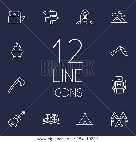 Set Of 12 Camping Outline Icons Set.Collection Of Grill, Shelter, Guitar And Other Elements.