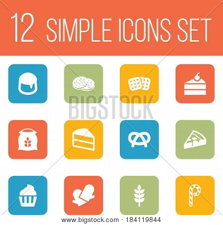 Set Of 12 Cook Icons Set.Collection Of Custard, Snack, Sweetmeat And Other Elements.
