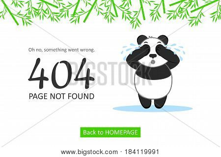 Page Not Found Error 404. Cute vector layout template of a crying panda for your website projects.
