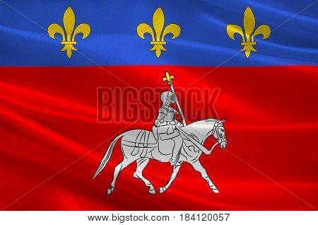 Flag of Cognac is a commune in the Charente department in southwestern France. 3D illustration