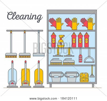 Flat illustration rack of home appliances, household chemicals and washing and cleaning. Cleaning company. Housekeeper equipment. Doodle design style concept, for web banners.