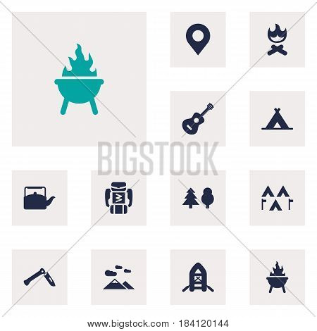 Set Of 12 Camping Icons Set.Collection Of Jackknife, Acoustic, Tent And Other Elements.
