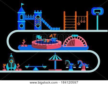Children s playground. Teeter board, swings, sandbox, umbrella, rocket-house, castle and bench also toy horse, horizontal bar for children, net basketball.
