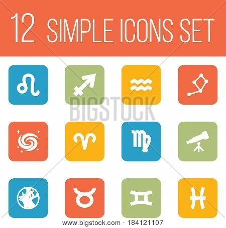 Set Of 12 Galaxy Icons Set.Collection Of Archer, Fishes, Binoculars And Other Elements.