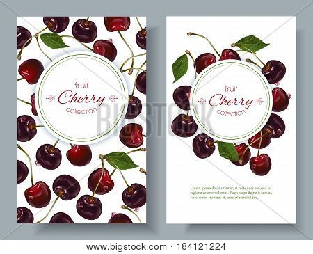Vector cherry vertical banners on white background. Design for sweets and pastries filled with cherry, dessert menu, natural cosmetics, health care products. With place for text