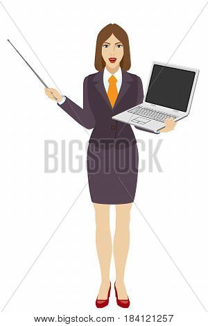 Businesswoman holding a pointer and laptop notebook. Full length portrait of businesswoman character in a flat style. Vector illustration.