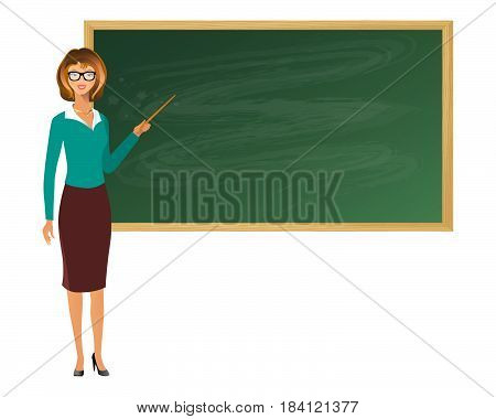 Young Female Teacher With Pointer, Showing On Board On Lesson At Blackboard In Classroom.