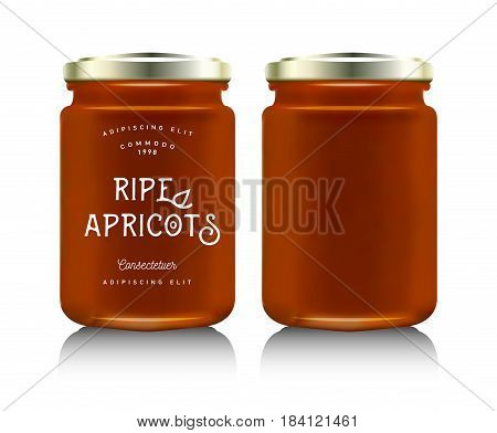 Realistic glass bottle packaging for fruit jam design. Apricot jam with design label, typography, line drawing apricots i. Mock up container or jar