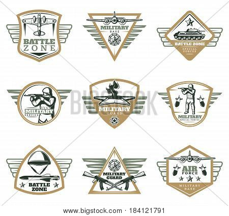 Colored vintage military emblems set with jet tank missiles weapons awards warrior helmet eternal flame isolated vector illustration