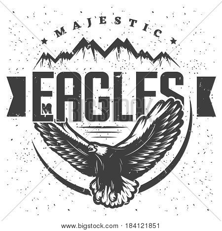 Vintage majestic eagle label template with inscription flying eagle and mountains in monochrome style isolated vector illustration