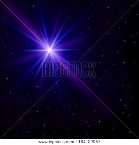Beautiful abstract background. The night sky with many small stars and one big star flash with glowing blue and purple rays Vector wallpaper