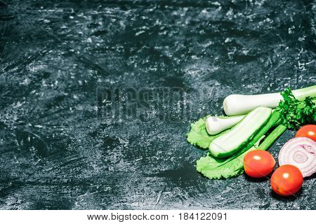 Fresh vegelable -cherry tomatoes, cucumber, lettuce, onion, leek- over spotty grey surface. Selective focus