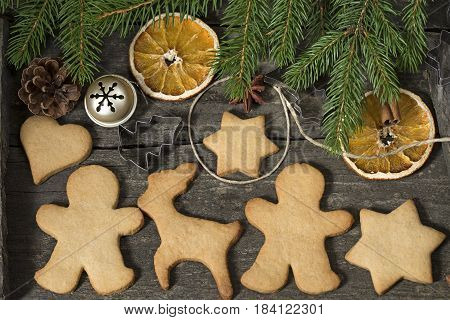Gingerbread cookies with a vintage Christmas decoration