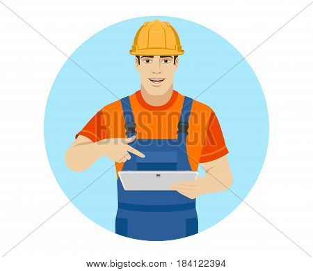 Builder pointing the finger to digital tablet PC. Portrait of builder character in a flat style. Vector illustration.