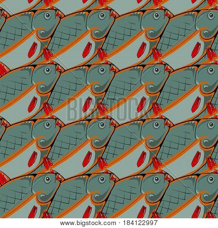 Fresh Fishes with Red Fins and Tails. Seamless Sea Food Pattern