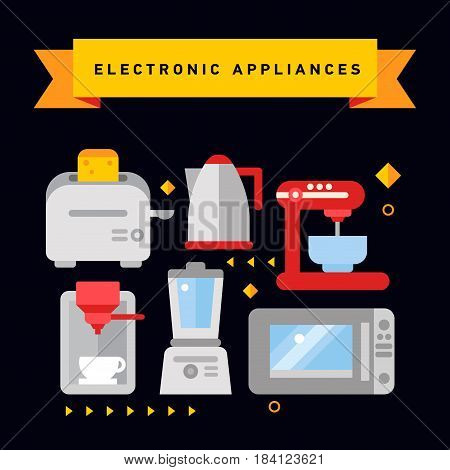 Set of kitchen appliances flat icons with microwave, electric kettle, coffee machine and toaster, blender, food processor.
