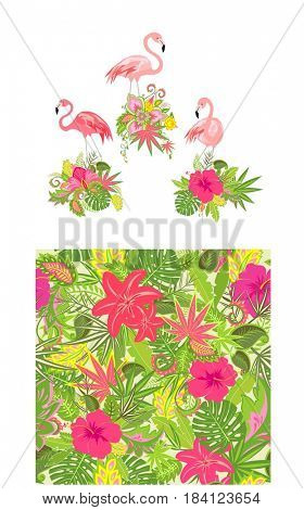 Beautiful floral design and wallpaper with exotic flowers and pink flamingo