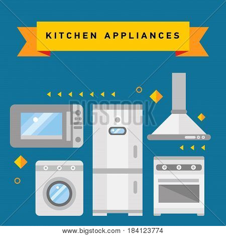 Flat line illustration of home, domestic appliances such as scales, lamp, vacuum cleaner, hair dryer, fan, iron. Smart home appliances, internet of things for consumer electronic.