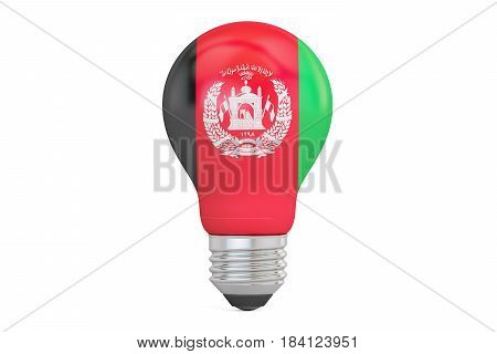 Light bulb with Afghanistan flag 3D rendering isolated on white background