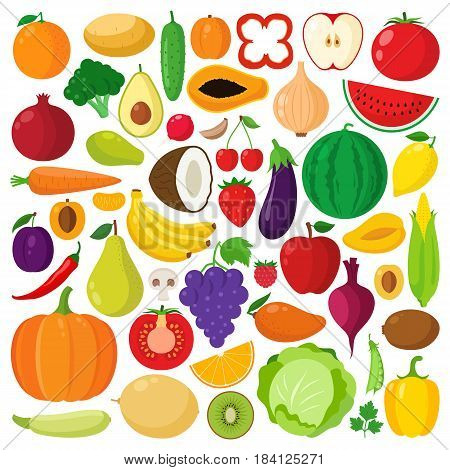 Vector Vegetables And Fruits Icons