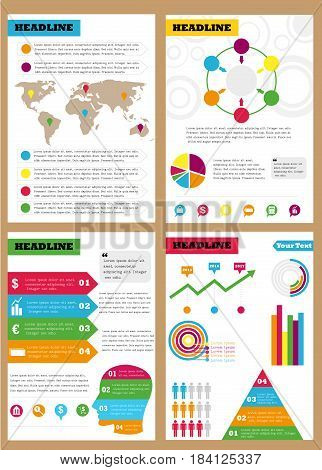 Set of infographic leaflets, prospects. Can be used in different directions for sales, marketing, economic departments.