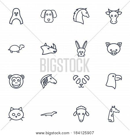 Set Of 16 Beast Outline Icons Set.Collection Of Sheep, Turtle, Monkey And Other Elements.