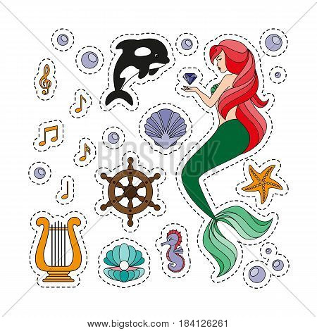 Fashion patch badges with a mermaid, killer whale, harp, notes, seashells. Set of stickers, pins, patches in cartoon 80s-90s comic style. Vector illustration isolated on white background.