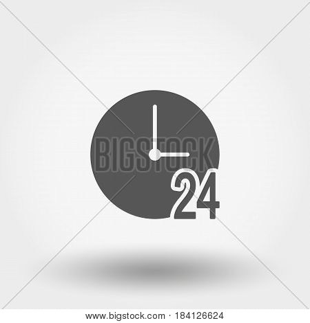 Support 24 hours. Icon for web and mobile application. Vector illustration on a white background. Flat design style.