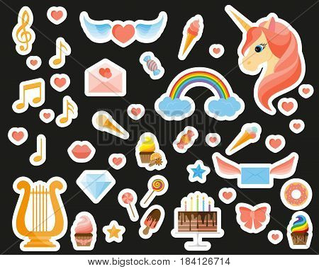 Fashion patch badges with a unicorn harp musical notes sweets and other elements. Set of stickers pins patches in flat design style. Vector illustration isolated on black background.
